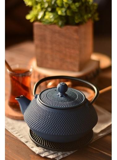 Taşev Linden - Sümbül 800 ml Gök Mavi Döküm Çaydanlık-Bambum